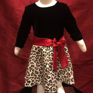 Jessica Ann Velour & Leopard Print Dress - 2T